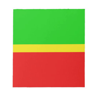 Green, yellow, and red. notepad