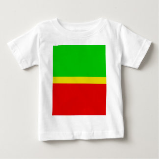 Green, yellow, and red. tshirts