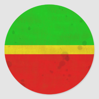 Green, yellow, and red with water stains classic round sticker