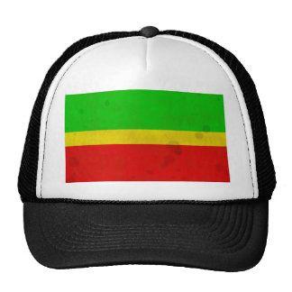 Green yellow and red with water stains mesh hat