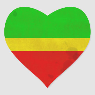Green, yellow, and red with water stains heart sticker
