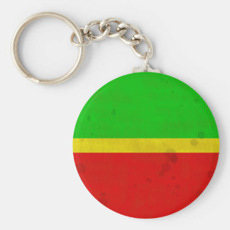 Green, yellow, and red with water stains keychain