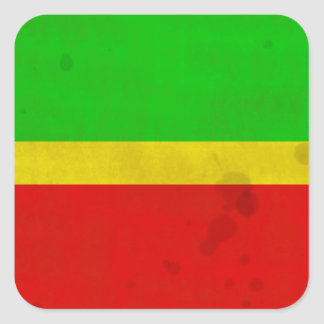 Green, yellow, and red with water stains square sticker