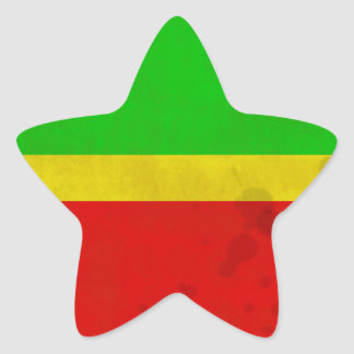 Green, yellow, and red with water stains star sticker