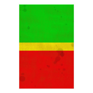 Green, yellow, and red with water stains stationery