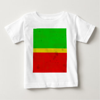 Green, yellow, and red with water stains tee shirt