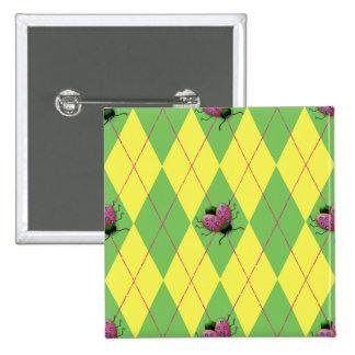 Green & Yellow Argyle Ladybug Pinback Button