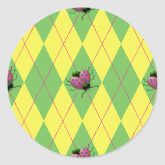 Green & Yellow Argyle Ladybug Classic Round Sticker