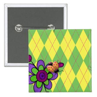 Green & Yellow Argyle Ladybug & Flower Pinback Buttons