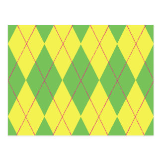 Green & Yellow Argyle Postcard