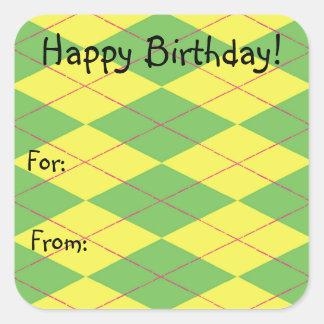 Green & Yellow Argyle Square Sticker