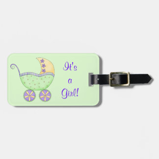 Green Yellow Baby Buggy Carriage Custom Name Luggage Tag