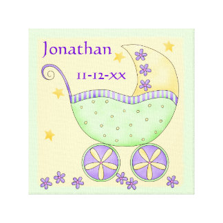 Green Yellow Baby Buggy Name Birth Date Art Canvas Print