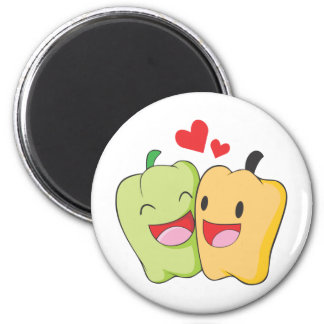 Green Yellow Bellpepper Lovers Sweethearts Magnet
