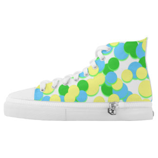 Green Yellow Big Circle Dot Spot High Top Shoes