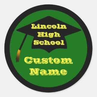 Green,Yellow & Black Custom Graduation Stickers