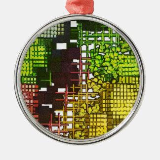 Green yellow black pattern round premium ornament