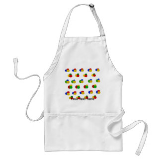 Green yellow blue red polka dots aprons