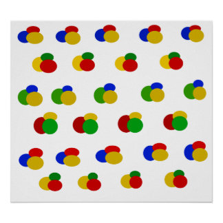 Green yellow blue red polka dots poster