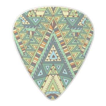 Aztec Themed Green yellow boho ethnic pattern acetal guitar pick