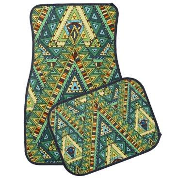 Aztec Themed Green yellow boho ethnic pattern car floor mat