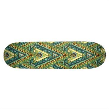 Aztec Themed Green yellow boho ethnic pattern skateboard deck