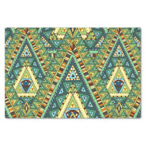 Green yellow boho ethnic pattern tissue paper