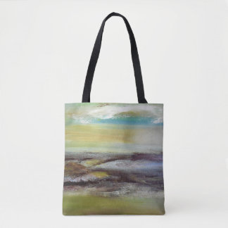 Green Yellow Brown Blue Abstract Tote Bag