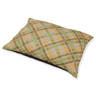 Green Yellow Brown Diamond Argyle Plaid Pattern Large Dog Bed