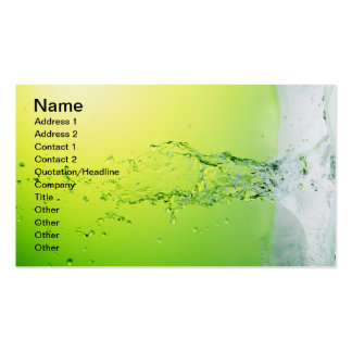 GREEN YELLOW BUBBLES SPLASHES WATER DROPS DIGITAL BUSINESS CARD