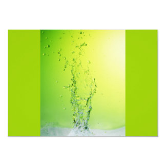 GREEN YELLOW BUBBLES SPLASHES WATER DROPS DIGITAL 5X7 PAPER INVITATION CARD