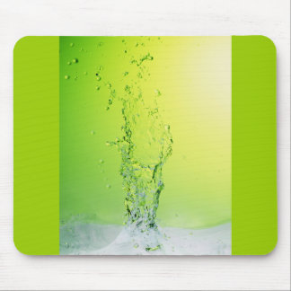 GREEN YELLOW BUBBLES SPLASHES WATER DROPS DIGITAL MOUSE PAD
