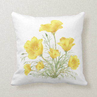 Green Yellow California Poppy Watercolor Painting Throw Pillow