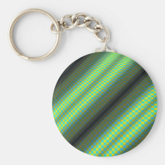Green & Yellow Checkered Tubes by Kenneth Yoncich Keychain