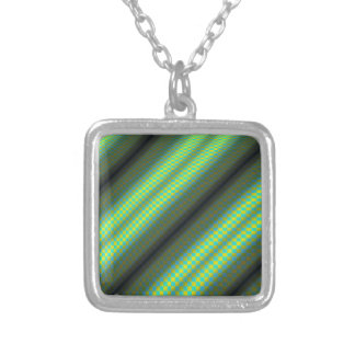 Green & Yellow Checkered Tubes by Kenneth Yoncich Square Pendant Necklace