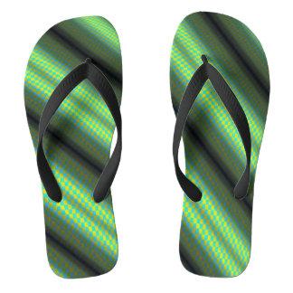 Green & Yellow Checkered Tubes Flip Flops