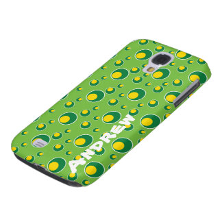 Green Yellow Circles Pattern HTC Vivid Cell Case Galaxy S4 Cases