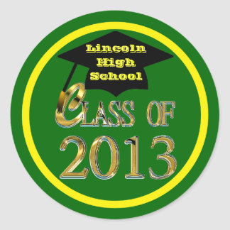 Green & Yellow Class Of 2013 Graduation Stickers
