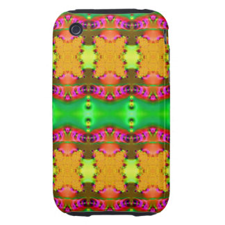Green yellow colorful ribbons iPhone 3 tough cover