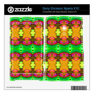 Green yellow colorful ribbons xperia x10 mini pro skins