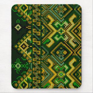 Green Yellow Cross Stitch Embroidery Mousepad