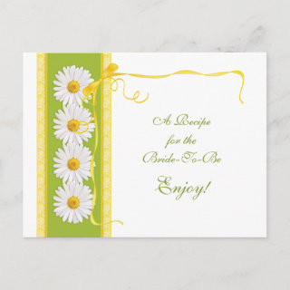 Green and Yellow Daisy Recipe Card for the Bride