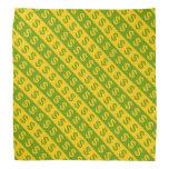 [ Thumbnail: Green & Yellow Dollar Signs Striped Pattern Bandana ]