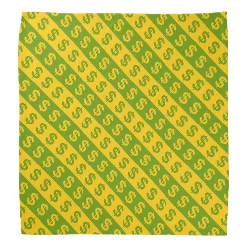 Green  Yellow Dollar Signs Striped Pattern Bandana