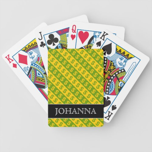Green  Yellow Dollar Signs  Striped Pattern Bicycle Playing Cards
