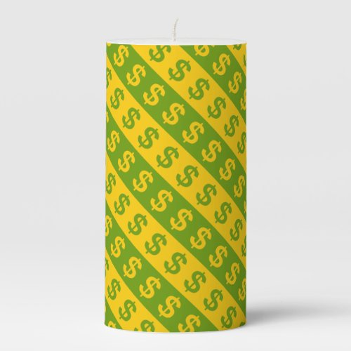 Green  Yellow Dollar Signs Striped Pattern Candle