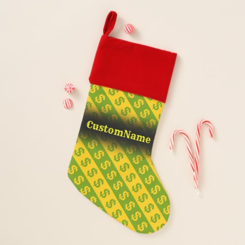 Green  Yellow Dollar Signs  Striped Pattern Christmas Stocking