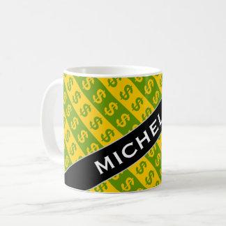 Green & Yellow Dollar Signs ($) Striped Pattern Coffee Mug
