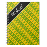 [ Thumbnail: Green & Yellow Dollar Signs ($) Striped Pattern Notebook ]