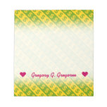 [ Thumbnail: Green & Yellow Dollar Signs ($) Striped Pattern Notepad ]